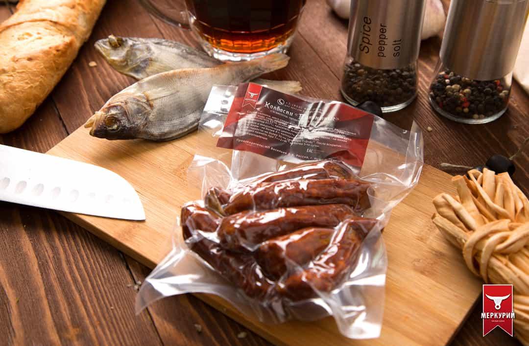колбаски пикантные сырокопченые, фас. 0,100 гр