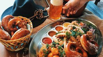 Биргартен пиво и закуски
