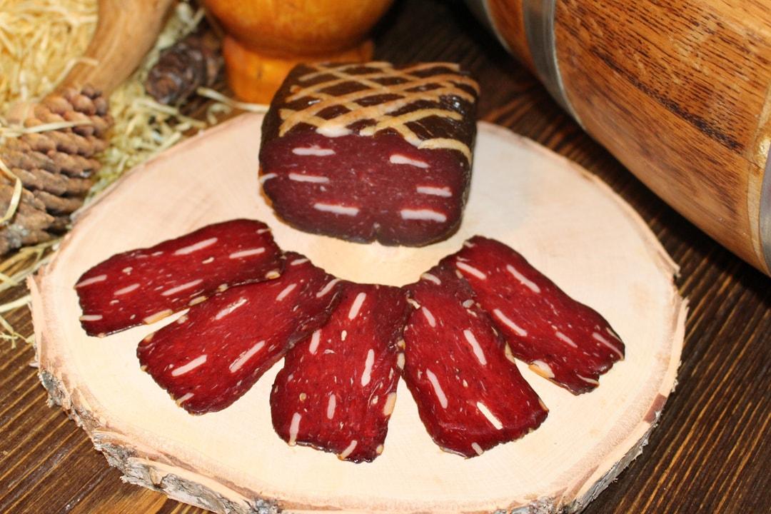 Бастурма из лося мясная сыровяленая нарезка ву 0,040 гр