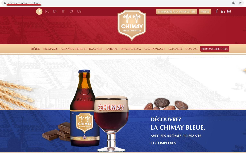 Скриншот официальной страницы Chimay Bleue